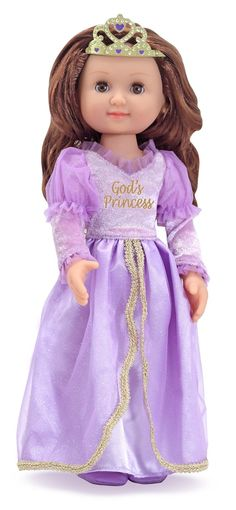"[""With movable arms and legs, God's Princess Doll from Melissa & Doug\u00ae is ready to strike a regal pose in her floor-length lavender gown. Her royal dress features a velvety bodice and sleeves, a satiny skirt and an elegant, sheer, tulle overskirt. Her long, lustrous hair is topped by a golden tiara and may be styled in a variety of ways. <br><br>\r\n\r\n<b>Product Details:<\/b> <br>\r\nAges 3 & up.<br>14\"" Tall <br>\r\n""] $32.99"