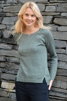 Happy Kinda Life - Soft cotton mix jumper with subtle design details: notched neckline, shaping for a slimming silhouette, great stitch detail on the back seam and a split high low hem. We've designed this jumper to make it the perfect choice for when you want to feel comfy and relaxed but still look stunning.