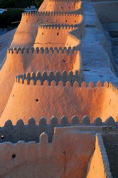 Sunset overlooking the old city walls of Khiva, Uzbekistan