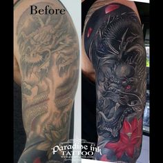 Feminine Tattoo Cover UPS Before and After Flower Cover Up Tattoos, Butterfly Tattoo Cover Up, Cover Tattoo, Flower Tattoo Designs, I Tattoo, Large Tattoos, All Tattoos, Black Tattoos, Tribal Tattoos