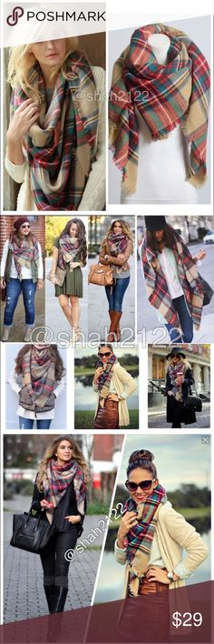 """New Tartan Blanket plaid scarf shawl checked Brand New without tags. Retail item. Soft, cozy and warm. Tartan Blanket Plaid scarf wrap shawl checked. Very stunning and classic. So many ways to wear it. Material : 100% Acrylic. Measurement : 60""""x 55"""" Boutique Accessories Scarves & Wraps"""