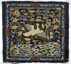 Backside Court Insignia Badge (Buzi) for a Civil Official of the 4th Rank (Wild Goose), Qing dynasty (1644-1911), circa 1800-1850, Dark blue silk satin embroidered with multicolored silk floss, Chinese 12-3/4 x 13-3/4 inches