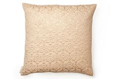 Quilted 18x18 Pillow, Rose/Gold on OneKingsLane.com