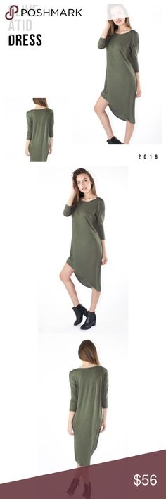 ATID Olive Dress Olive color asymmetrical dress. Made of Jersey material. Thick material none see through. Created and designed by ATID in Los Angeles California. True to size. Atid Clothing Dresses Asymmetrical