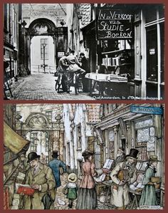 Fact and fiction. A photo of an Amsterdam bookshop around 1950 and the same shop by artist Anton Pieck (1895-1987)