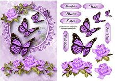 Gorgeous Lilac Roses Butterflies on Craftsuprint designed by Anne Lever - This lovely topper features gorgeous lilac roses and butterflies. It has decoupage and six greetings. The greetings are daughter, mum, sister, nan, with love and for you.  - Now available for download!