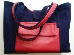 Piros textilbőrrel díszitett farmer táska http://rebarberbag.hupont.hu