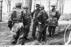 German paratroopers meet with R.S.I fascist italian soldiers. Monte Cassino, Italy 1943.