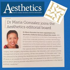 Our expert dermatologist Dr Maria Gonzalez joins the Aesthetics editorial advisory board. Book your consultation with her at our Knightsbridge clinic on 00442074607324 @aesthetics #aesthetics #dermatologist #dermatologistlondon