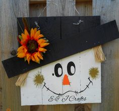 CAN BE PURCHASED AT WWW.FACEBOOK.COM/EANDJCRAFTS OR MY ETSY SHOP...TAKING ORDERS UNTIL NOV. 1ST, 2015..Little boy scarecrow door hanger/Pallet wood scarecrow/Halloween decor/Fall decor/Primitive scarecrow made of pallets/Boy scarecrow by EandJcrafts on Etsy