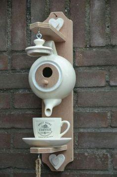 Tea pot feeder and birdhouse