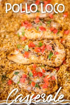 Pollo Loco Casserole - baked Mexican chicken and rice casserole. Top the casserole with Mexican white cheese dip. Mexican Food Recipes, New Recipes, Dinner Recipes, Cooking Recipes, Favorite Recipes, Frugal Recipes, Restaurant Recipes, Chicken Casserole, Rice Casserole