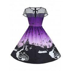 Halloween Mesh Insert Vintage A Line Dress - L L