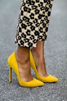 Leopard Jacquard and Bright Pumps via The DaileighI I soooo want bright yellow,sexy pumps, as well as some amazing cobalt blue ones!!!: