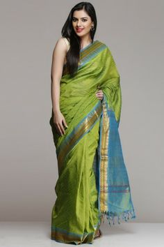 Lime Green & Turquoise Blue Silk Cotton Saree With Gold Zari