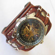 Leather Watch-Brown Leather Watch-Men Watch-Leather Watch band-Leather Cuff Watch-Leather Wrist Watch by loversbracelets on Etsy https://www.etsy.com/listing/226973667/leather-watch-brown-leather-watch-men