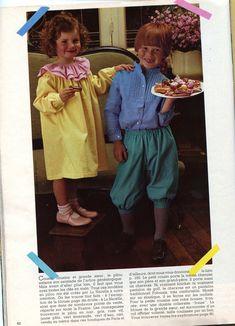 """100 idées n° 95 - septembre 1981 - article """"tel père tel fils"""" (ouvrages Mme Poulain pour """"la nacelle"""", photos Jérôme Tisné) tenues enfants en pilou."""