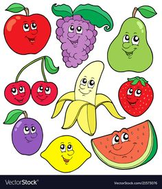 Illustration about Cartoon fruits collection 1 - vector illustration. Illustration of berry, healthy, fruit - 7872396 Digital Art Illustration, Illustration Blume, Portrait Illustration, Vector Illustrations, Free Vector Images, Vector Art, Vegetable Cartoon, Cartoon Vegetables, Fruit Clipart
