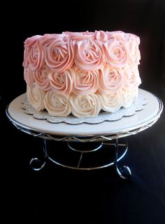 I did it! I finally made a rose cake! But not just any rose cake--a pink ombre rose cake! I basically hit two techniques with one....