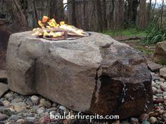 Our Fire Fountain Boulder. For more info including pricing visit us at www.boulderfirepits.com