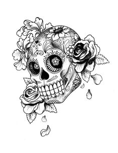 skull coloring pages for adults | ... - printable sugar skull ... - Coloring Pages Roses Skulls