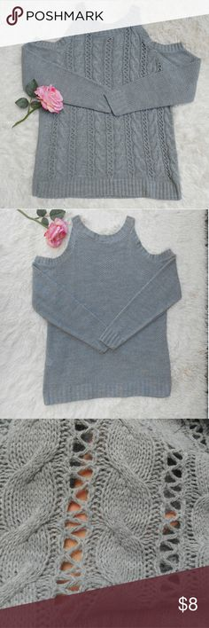 Charlotte Russe Off the Shoulder Sweater cable knit cold shoulder sweater. It is lightweight and see through so not ideal for extremely cold weather but will provide some warmth on a chilly summer night out. Charlotte Russe Sweaters Crew & Scoop Necks