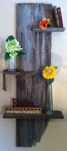 Rustic Reclaimed Oak Barn Wood Three Tiered Wall Sconce / Shelf