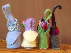 Set of Seasonal Gnomes: Felted Cashmere and by JuniperHollowGnomes