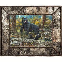 Black Bear Family Birch Bark Framed Canvas