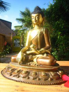 TRAUMHAFTER und EINZIGARTIGER Medizin-Buddha/ ShakyamuniFEUERVERGOLDET und HANDBEMALT  !!--  UNIKAT  --Fligranste Handarbeit in PerfektionMaterial: Bronze/ GoldHöhe:  19  cm  !!Breite:  19 cm  !!!Tiefe:  15 cm  !!Gewicht:  2 KG  !!!--Sammlerauflösung--Abholung oder VersandHabe noch weitere UNIKATE-Buddhas-Tempelwächter-Klangschalen-Räuchergefäße-Tara-Guan Yin-Shiva-Ganesha-Bronze/ Messing/ Cloisonne/ Stein-Garten Statuen etc. eingestellt