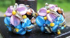 Rain Flowers Handmade Lampwork Floral Glass Bead Set by TLBeads, $17.00