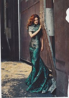 OMG, how GORGEOUS will your hair be if red on *the day* with a teal dress...red hair,  teal dress.