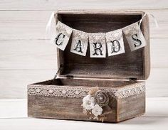 Rustic Wedding Cards Box Holder with Burlap and Lace  Cards Banner Wooden Chest  Shabby Chic Flowers Wedding Sign on Etsy, $66.61 by catrulz