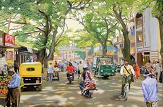 India street Scene oil painting, urban landscape, by Dominique Amendola India Painting, Oil Painting On Canvas, Watercolor Paintings, Watercolour, Watercolor Portraits, Oil Paintings, Om Namah Shivaya, Watercolor Landscape, Landscape Paintings