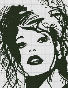 0 point de croix monochrome portrait  - cross stitch