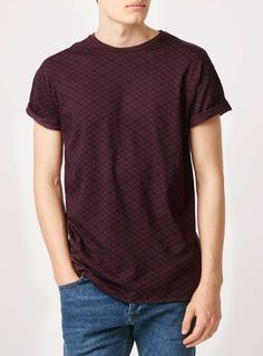 Burgundy Geo Print T-Shirt