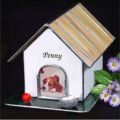 for @Amelia R. Sánchez Stone Thomas Stained Glass Dog House Photo Pet Cremation Urn