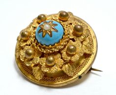 Victorian Etruscan Style Turquoise Enamel by RubyInTheDustVintage, $145.00