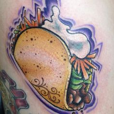 Forget Taco Tuesday, get one of these cool taco tattoos to celebrate your favorite dish every day. Fast Casual Restaurant, Casual Restaurants, Taco Tattoos, Lets Taco Bout It, Instagram 9, Tattoo You, Color Tattoo, Tattoo Photos, Tattoo Inspiration