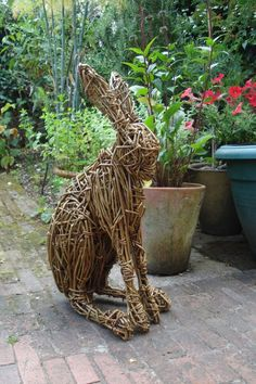 #Willow #sculpture by #sculptor Emma Walker titled: 'Willow HARE no.2 (Woven Willow garden/Yard statue/sculpture/For sale)'. #EmmaWalker