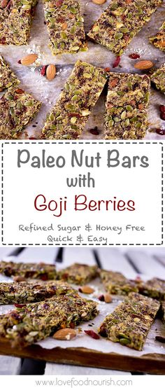 "Easy to make paleo nut bars. A homemade ""granola"" bar without the grains, refined sugar or honey, naturally sweetened with goji berries. Gluten Free, Dairy Free, Refined Sugar Free, Grain Free."