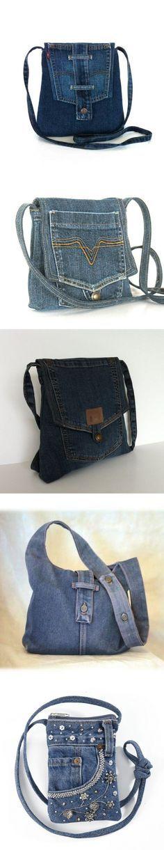 DIY Jean Purses w/ pocket flap Denim Tote Bags, Denim Handbags, Denim Purse, Jean Purses, Purses And Bags, Do It Yourself Jeans, Diy Sac, Denim Crafts, Recycled Denim