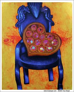 """""""Blue Heart Chair"""". Acrylic on canvas. 2nd in my chair series.  18 x 24"""