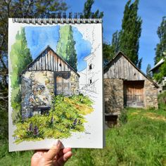 The same barn from my previous post, but this time from the front. It's not that clear in the photo, but I was sitting in very long… Watercolor Architecture, Watercolor Landscape, Landscape Art, Landscape Paintings, Watercolor Journal, Watercolour Painting, Watercolors, Watercolour Tutorials, Watercolor Techniques