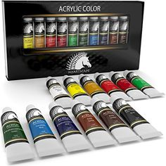 Acrylic Paint Set - Artist Quality Paints for Painting Canvas, Wood, Clay, Fabric, Nail Art, Ceramic & Crafts - 12 x 12ml Vibrant Heavy Body Colors - Rich Pigments - Professional Supplies by MyArtscape