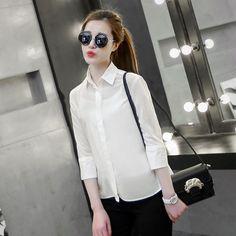 2015 spring women lapel split sleeve solid color chiffon shirt USD$13.92