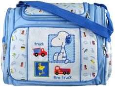 Blue Snoopy Large Baby Diaper Bag with Changing Pad   Plastic Wipes Case $25.99