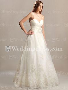 Romantic Organza Wedding Dress with Spaghetti Straps BC366