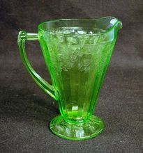 """Green Depression Glass Pitcher """"Cherry Blossom"""" Pattern ~ I do have have a green pitcher but I do have a few pink and yellow ones I enjoy using immensely."""