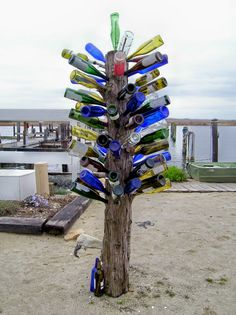 The Eastern Shore approach to recycling -- a festive wine bottle palm tree at Hide Away Grill in Westover, MD.